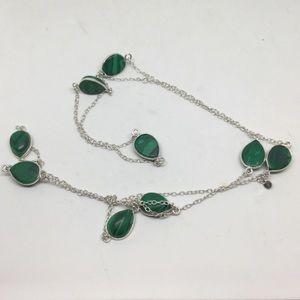 Long Malachite Silver Necklace